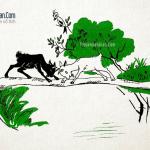 Truyện Hai con dê qua cầu và bài thơ Gấu qua cầu